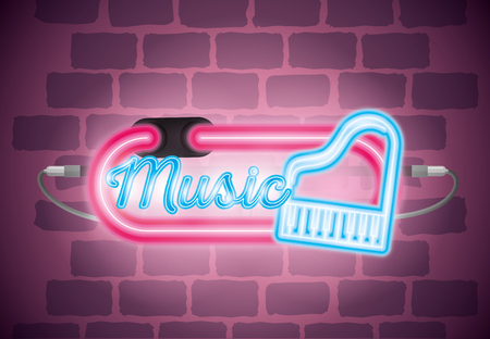 music iluminated neon label vector illustration design Illustration