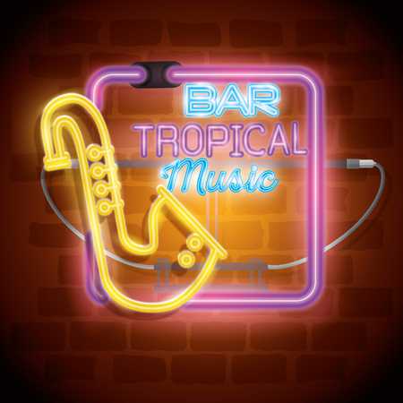tropical music bar neon label vector illustration design