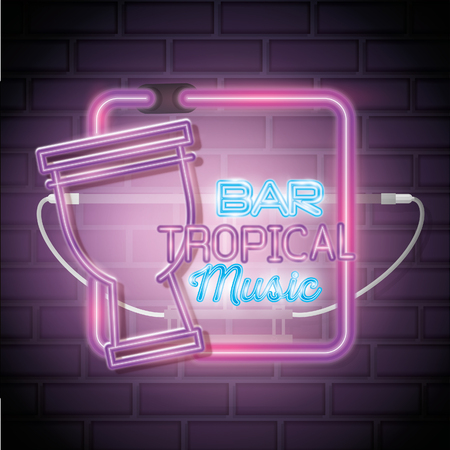 Tropical music bar neon label vector illustration design  イラスト・ベクター素材
