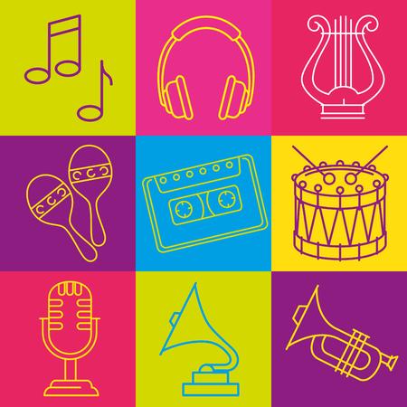 Tropical instruments set icons vector illustration design Ilustrace