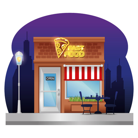 Fast food facade building with neon label vector illustration design