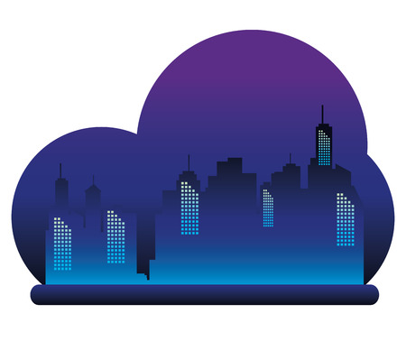 Cityscape buildings with neon lights vector illustration design