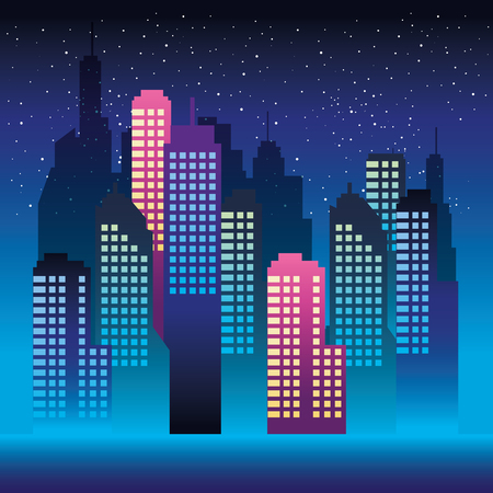 cityscape buildings with neons lights vector illustration design