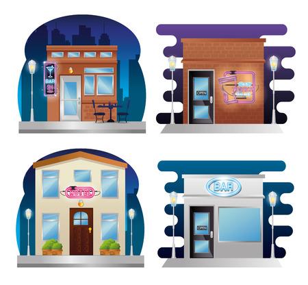 set buildings facades with neon labels vector illustration design