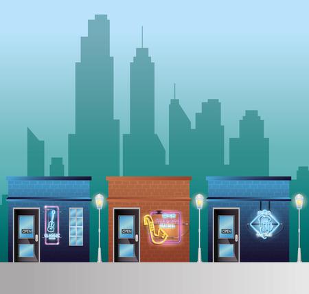Set buildings facades with neon labels vector illustration design Stock Illustratie