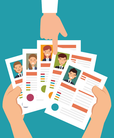 hand human resorces recruit desing isolated vector illustration