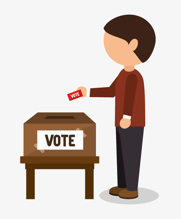Cartoon elections vote design with man placing in his vote in the ballot box vector illustration Vettoriali