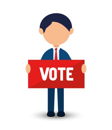 Élections dessin animé vote conception avec homme avec illustration vectorielle de vote bannière