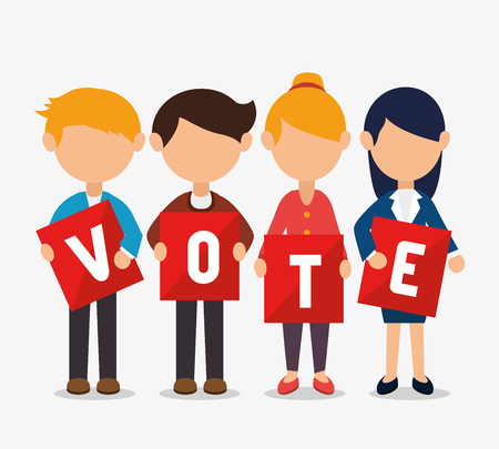 Cartoon elections vote design with men and women with vote cards vector illustration