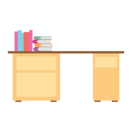 desk with pile books workspace vector illustration