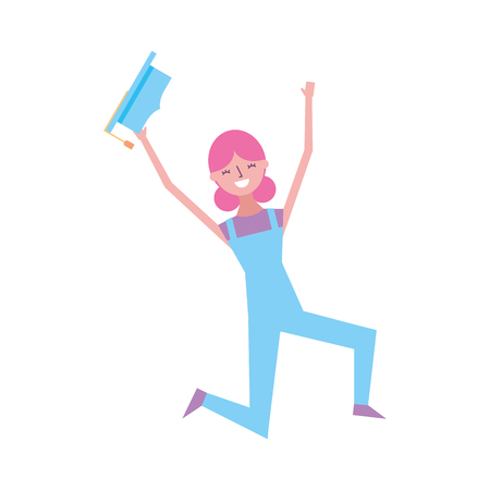 cartoon character young graduate woman jump from happiness vector illustration