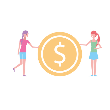 two young woman holding big dollar coin currency vector illustration