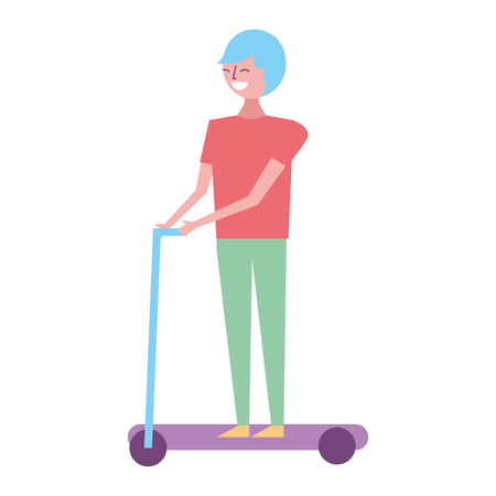 young man riding electric kick scooter vector illustration Ilustracja