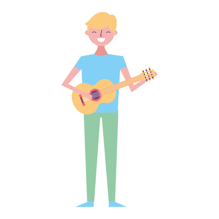 young musician man playing guitar vector illustration