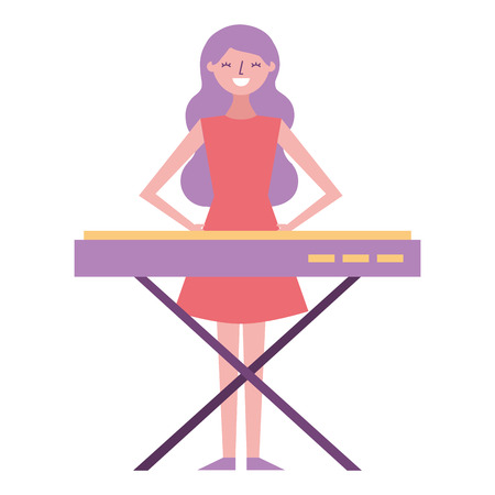 cute cartoon happy woman playing synthesizer vector illustration
