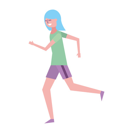 fitness woman running in sport clothes vector illustration