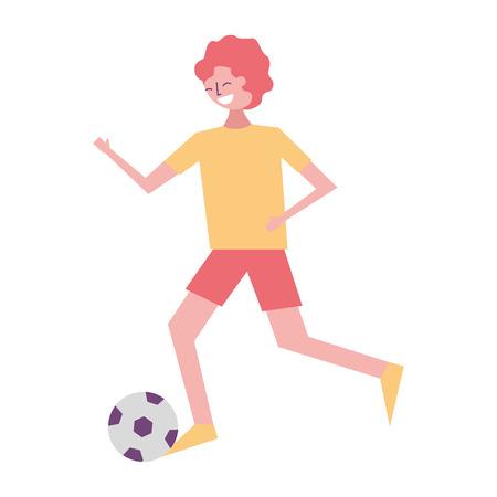 サッカーボールベクトルイラストで走っている若い男  イラスト・ベクター素材