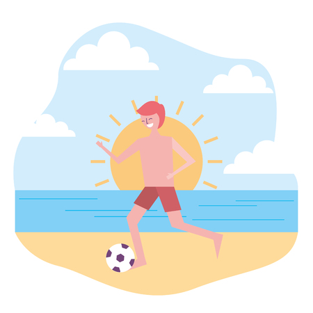 young man in swimsuit playing with ball in the beach vector illustration