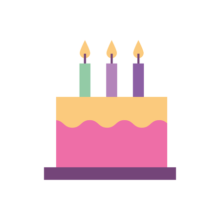 delicious birthday cake with three candles vector illustration Иллюстрация