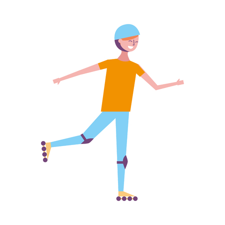happy young man riding in roller skate sport vector illustration Illustration