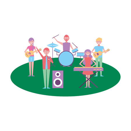 musician band concert people with instruments vector illustration