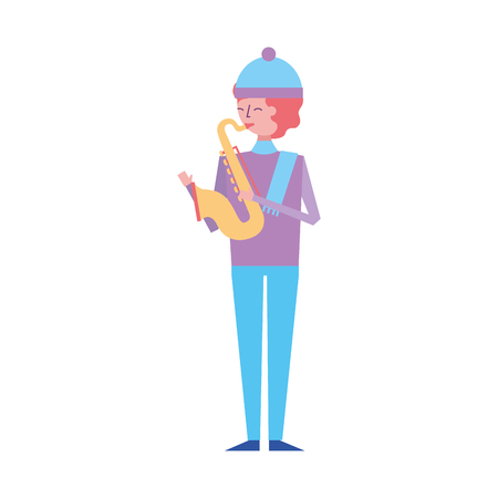 musician young man playing saxophone in warm clothes vector illustration