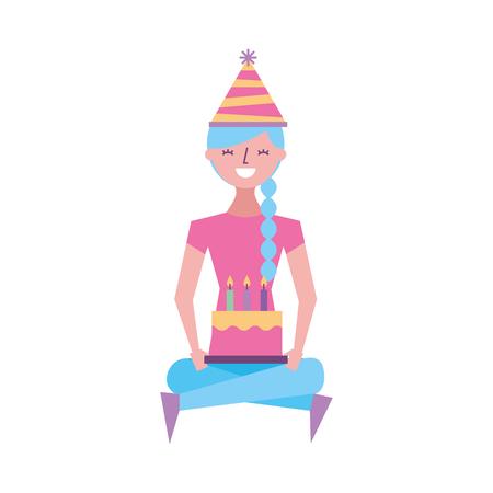 happy girl sitting in floor with birthday cake vector illustration
