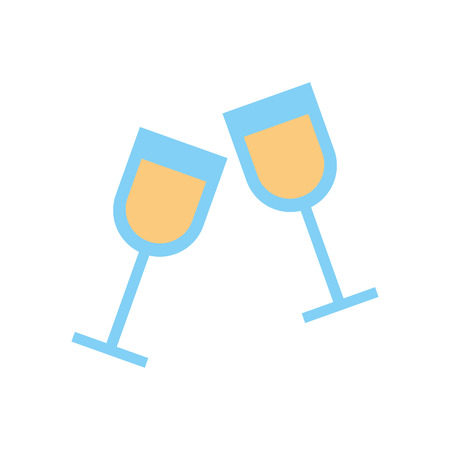 two glass cup liquor drink image vector illustration