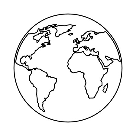 globe world planet map earth image vector illustration outline design