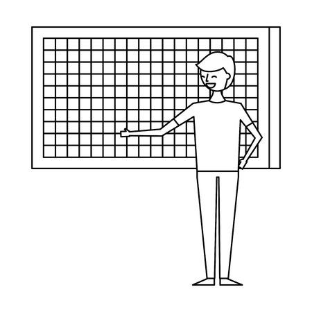 happy cartoon man pointing in board presentation vector illustration outline design