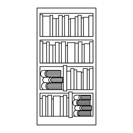 large bookcase with different books literature vector illustration outline design
