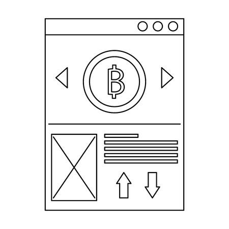 ウェブサイトビットコインビジネスメッセージ画像ベクトルイラストアウトラインデザイン