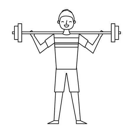 young man training lifting weight barbell vector illustration outline design Ilustração