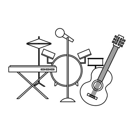 Disegno del profilo dell'illustrazione di vettore del microfono della batteria del sintetizzatore del sassofono degli strumenti musicali Archivio Fotografico - 97664831