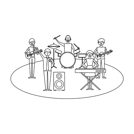 musician band concert people with instruments vector illustration outline design 向量圖像