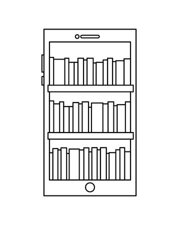 smartphone stock of books in screen reading online vector illustration outline design