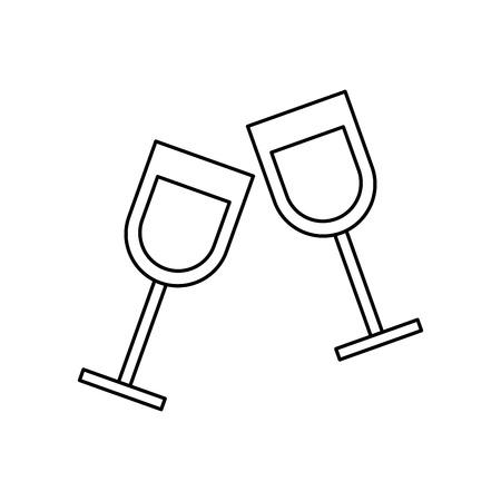 two glass cup liquor drink image vector illustration outline design