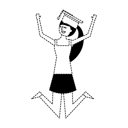 cartoon character young graduate woman jump from happiness vector illustration dotted line  イラスト・ベクター素材