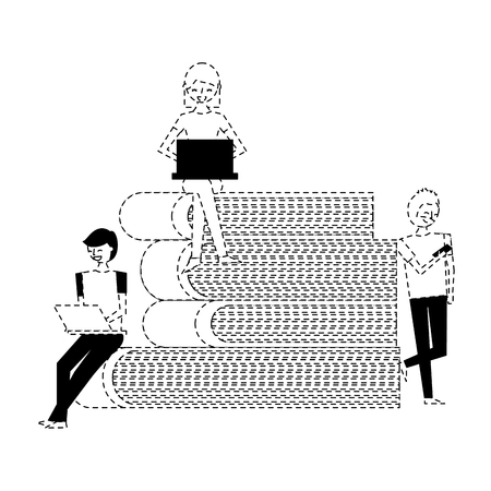 people using technology devices and pile books vector illustration dotted line Vettoriali