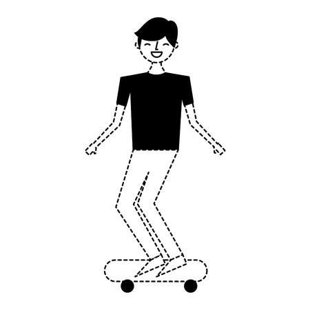 young man riding on skateboard enjoying vector illustration dotted line