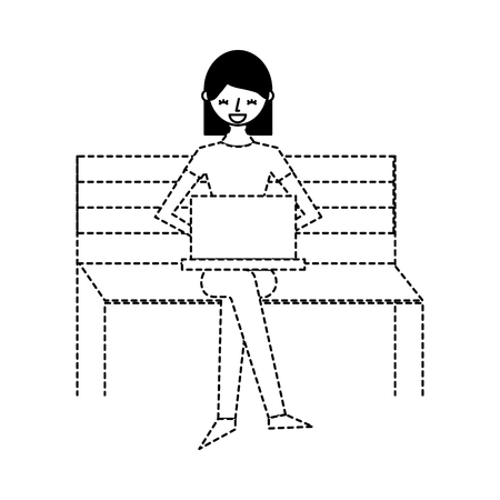 young woman sitting on bench with her laptop vector illustration dotted line