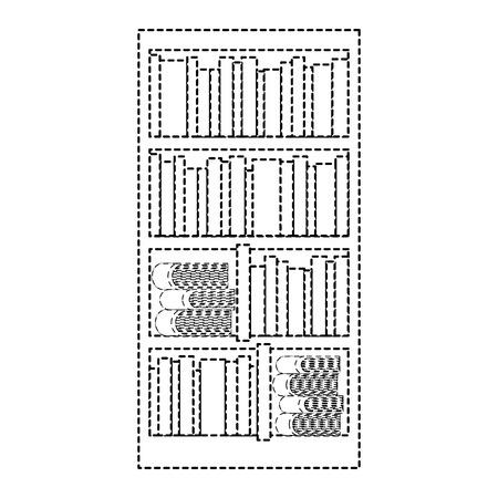 Estantería grande con diferentes libros literatura ilustración vectorial línea punteada Foto de archivo - 97666744