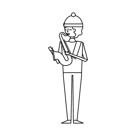 musician young man playing saxophone in warm clothes vector illustration outline design