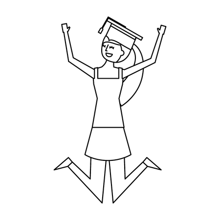 cartoon character young graduate woman jump from happiness vector illustration outline design Stock Vector - 97666767