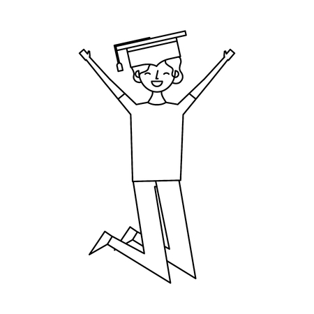cartoon character young graduate woman jump from happiness vector illustration outline design