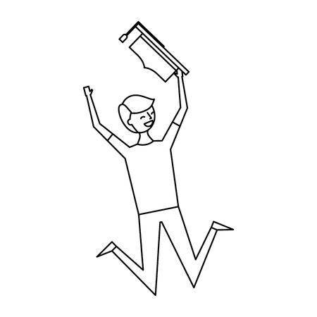 happy jumping student man hat graduate vector illustration outline design Illustration