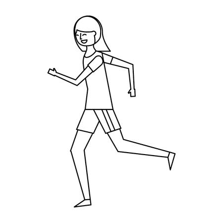 スポーツ服で走るフィットネス女性 ベクトルイラストアウトラインデザイン