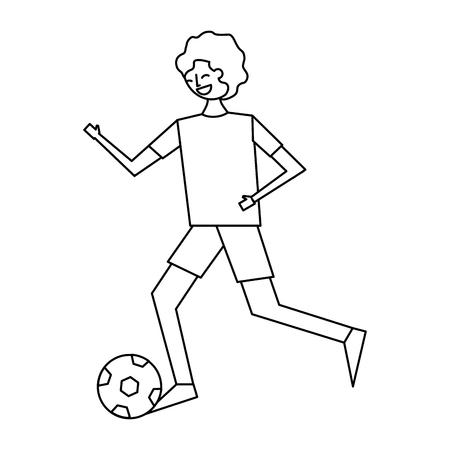 サッカーボールベクトルイラストアウトラインデザインで実行している若い男