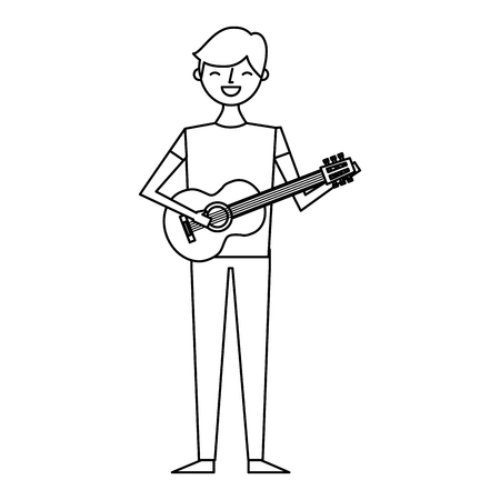 young musician man playing guitar vector illustration outline design