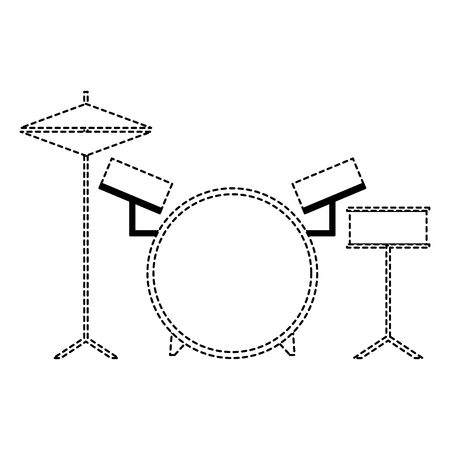 musical drums battery set instruments vector illustration dotted line 일러스트